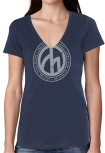Women's Roundel Trifecta - Navy V-Neck Tee
