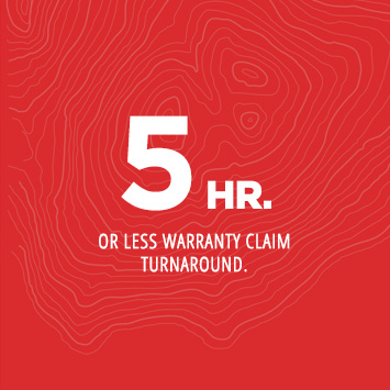 24 HR. or less warranty claim turnaround.