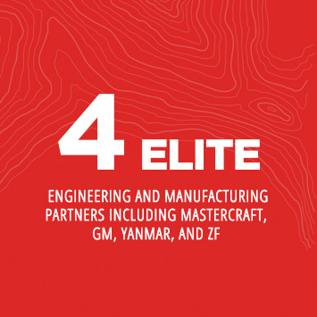 4 elite engineering and manufacturing partners including Mastercraft, GM, Yanmar, and ZF